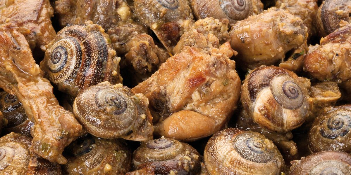 Conejo asado con caracoles de viña